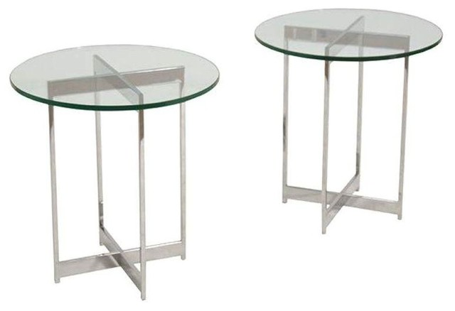 Mid Century Chrome Glass Side Tables
