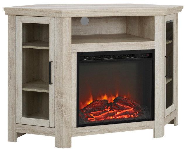 "Description: Utilize your corner space with this 48"" wood media stand with electric fireplace. Its corner design makes this the perfect space saving unit while"
