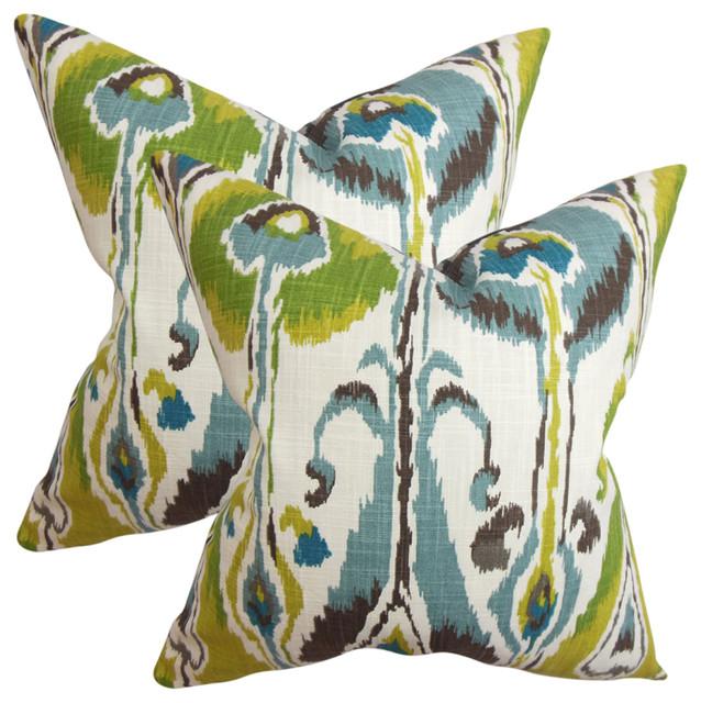 Gudrun Ikat Throw Pillows, Set Of 2, Blue Green.