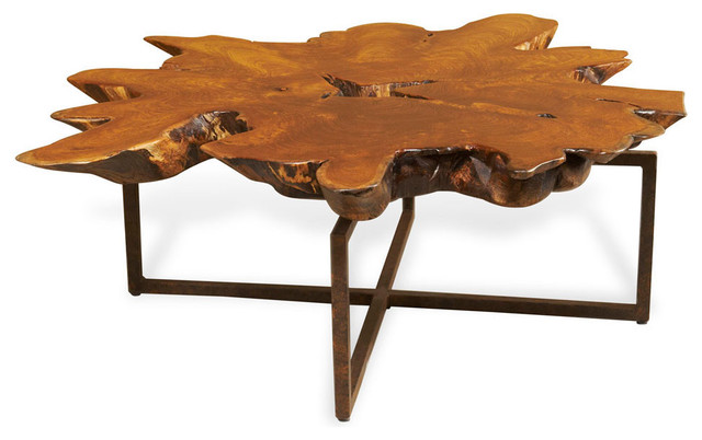 Harrer Rustic Lodge Teak Root Iron Abstract Coffee Table Rustic Coffee Tables