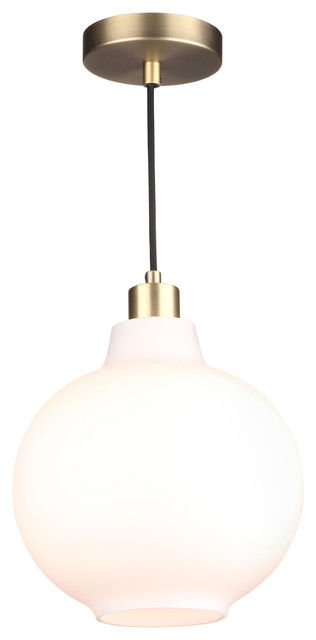 Sula Brass and White Glass Pendant Light