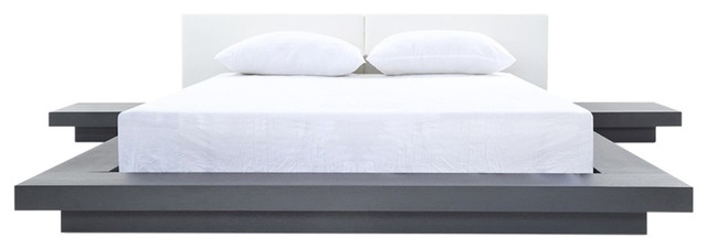 Modrest Opal Modern Wenge And White Platform Bed, Queen.