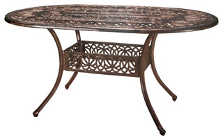 Outdoor Cast Aluminum Oval Dining Table - Traditional - Outdoor ...