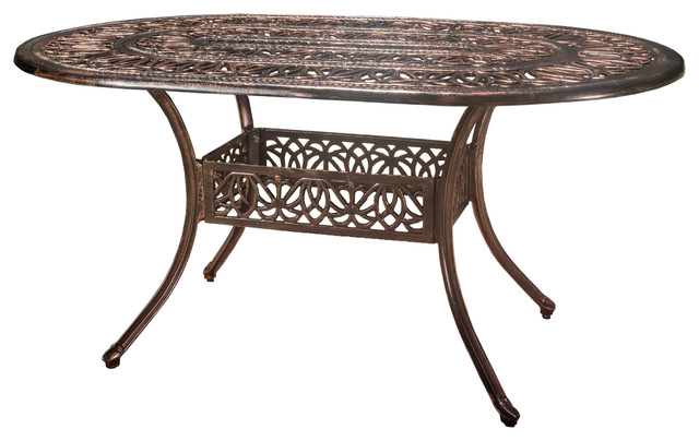 Outdoor Cast Aluminum 6-Seater Oval Dining Table.