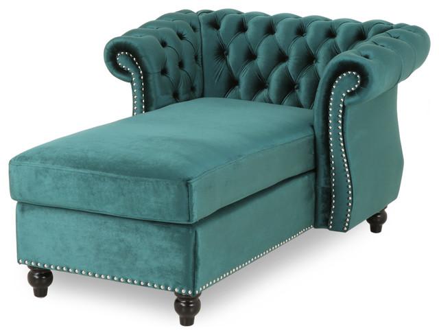 Strange Phyllis Modern Glam Chesterfield Chaise Lounge Teal Dark Brown Machost Co Dining Chair Design Ideas Machostcouk