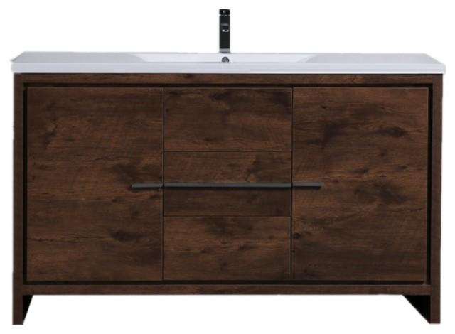 Mod 60 Single Sink Free Standing Vanity Contemporary Bathroom