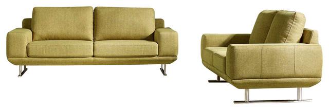 Modern Yellow Fabric Della Sofa and Loveseat, 2-Piece Set