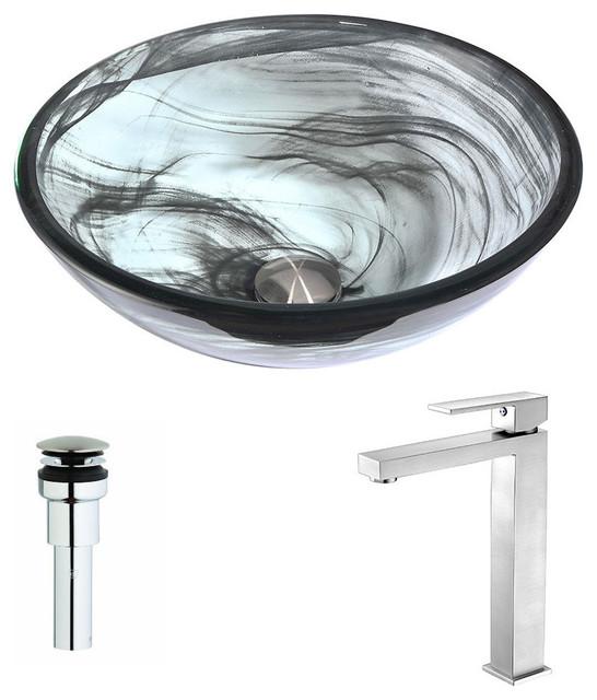 Mezzo Series Deco-Glass Vessel Sink, Slumber Wisp, Enti Faucet, Brushed Nickel.