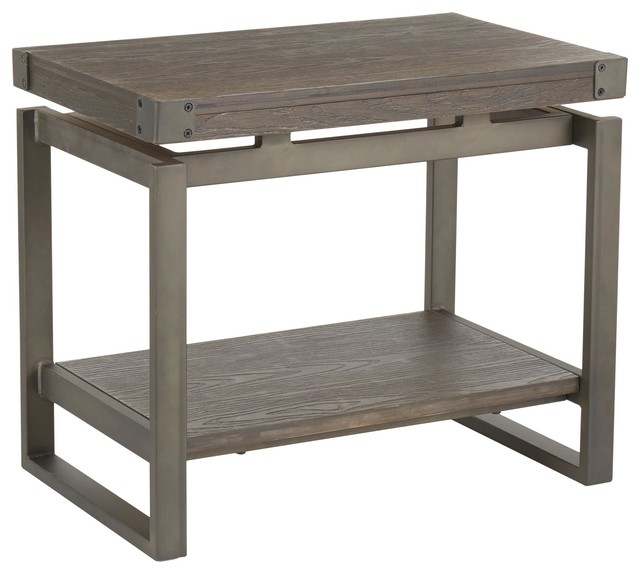 Drift Industrial End Table, Antique Metal With Espresso Wood-Pressed Bamboo