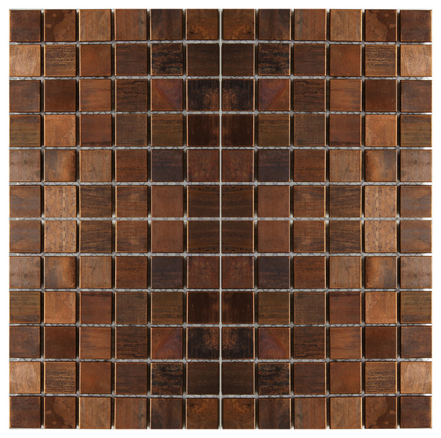 11.8x11.8 Medium Square Antique-Style Copper Mosaic Tile, Single Sheet.