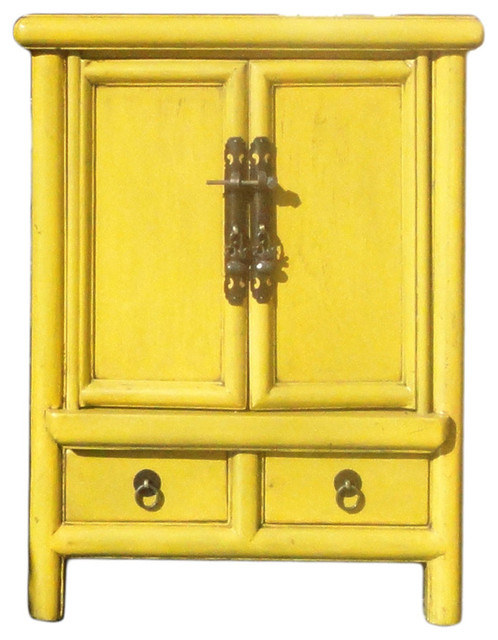 Chinese Rustic Light Yellow End Table Asian Side Tables And End