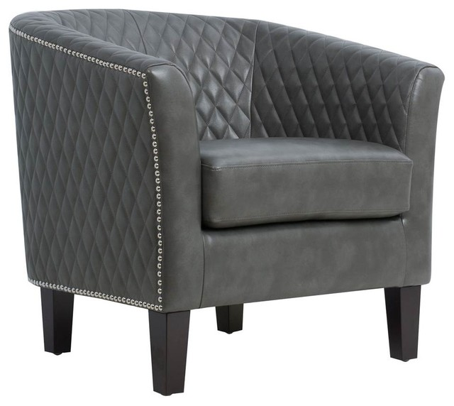 Pleasant Upholstered Quiltback Barrel Accent Chair In Stormy Gray Uwap Interior Chair Design Uwaporg