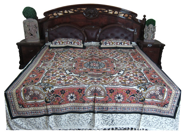 Indian Bedding 3 Pcs Bedcover Cotton Brown Queen Bedspread Pillow Covers