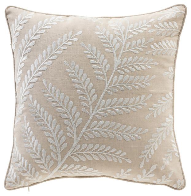 Elegant Leaf 17 Embroidery Cotton Throw Pillow