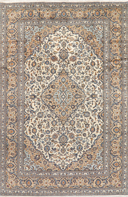 Traditional Kashan Carpet Medallion Hand Knotted Oriental Area Rug Ivory 8x12 Traditional Area Rugs By Rugsource Inc Houzz