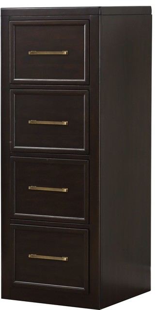 Bon Parker House Greenwich GRE#374 4 Drawer Tall File Cabinet In Dark Walnut    Transitional   Storage Cabinets   By Massiano