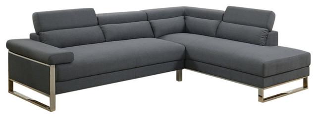 Polyfiber 2-Piece Sectional Sofa, Metal Base, Charcoal Gray.