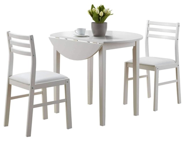 Dining Set - 3Pcs Set White With A 36Dia Drop Leaf by Monarch