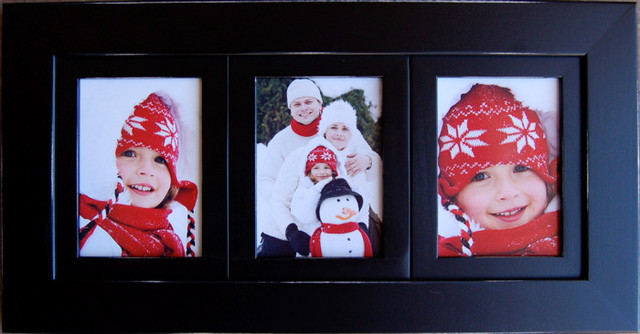Collage Picture Frame With Three Openings Black Triple Frame ...