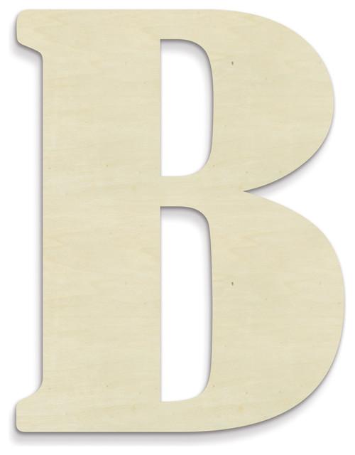 "Oversized Unfinished Wood Letter, B, 18""."