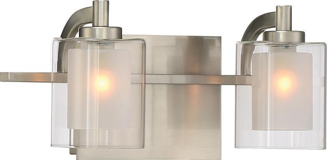 Contemporary Urban Bath Vanity Light: Luxury Modern Nickel Bathroom Vanity Light, UQL2400, Napa