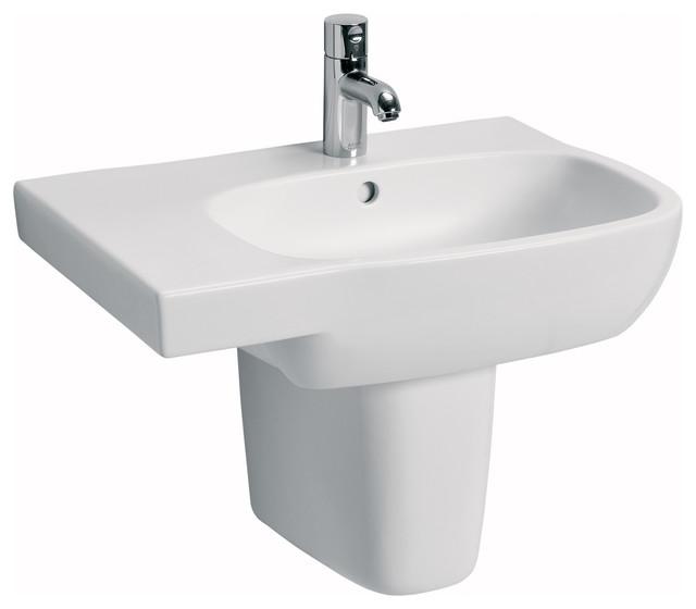 Moda 25 6 Wall Mounted Semi Pedestal Bathroom Ceramic Sink With Overflow
