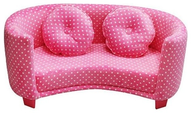 Newco Kids 39062 Comfy Sofa Pink Dots Contemporary Sofas By Unbeatable Inc
