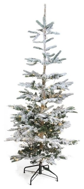 9 Pre Lit Noble Fir Flocked Artificial Christmas Tree Warm Clear
