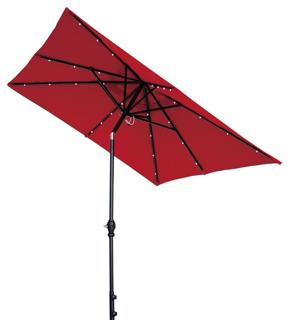 7x9u0027 Rectangular Patio Umbrella, Solar Powered 32 Led Lights, Tilt And  Crank Transitional