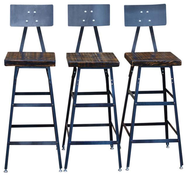 Set Of 3 Urban Bar Stools With Backs Reclaimed Barn Wood
