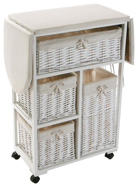 Rolling Ironing Board Trolley With Baskets