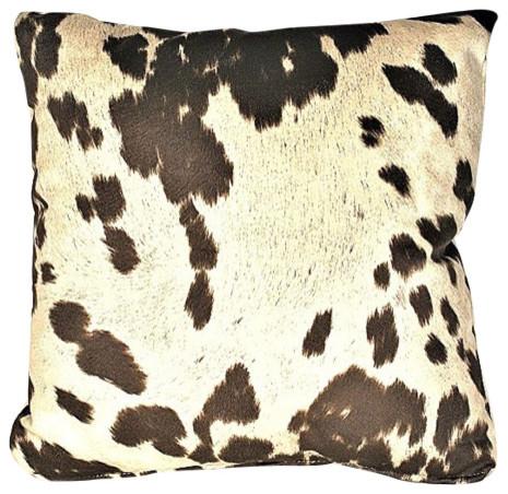"Cowhide Brown Animal Fur Decorative Throw Pillow, 21""x21""."