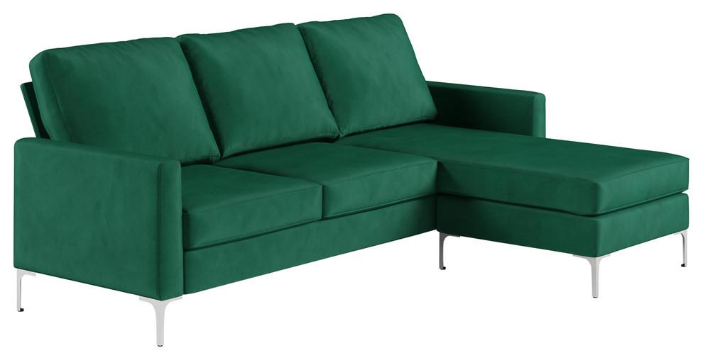 Chapman Velvet Sectional Sofa With Chrome Legs, Green