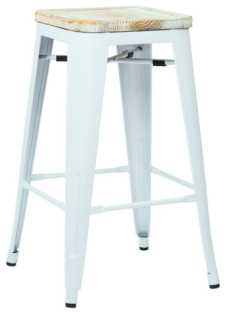bristow antique metal barstool with vintage wood seat white finish set of 4