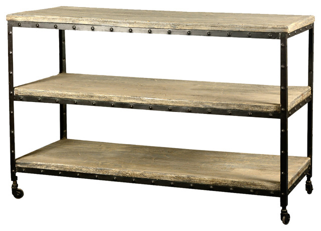 Industrial Reclaimed Wood Amp Iron 50 Quot Long 3 Tier Rolling