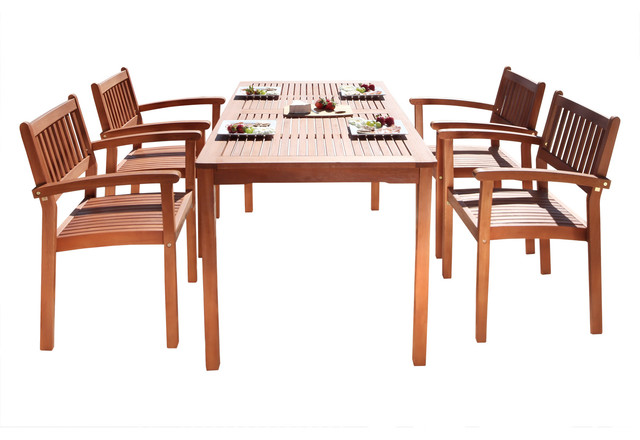 Malibu Eco-Friendly 5-Piece Wood Outdoor Dining Set With Stacking Dining Chairs.
