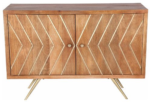 Bresmo Natural Mango Wood, Antique Brass and Iron Cabinet