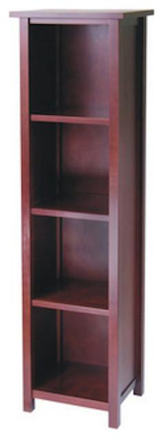Wood Four Tier Storage Cabinet W Black Fabric Baskets.