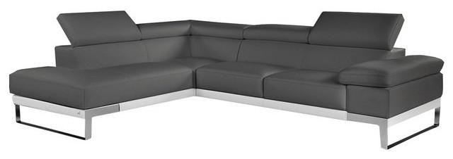 Nicoletti Premium Leather Sectional Sofa, Gray, Left Facing