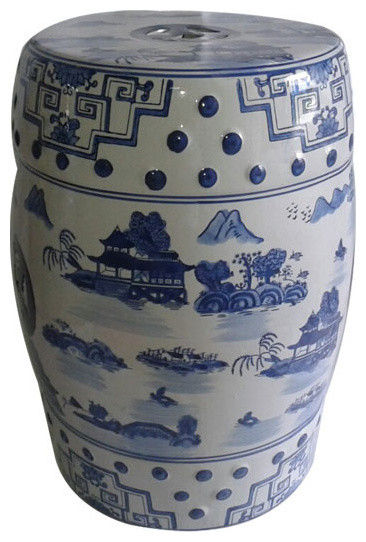 Blue And White Porcelain Garden Stool For Indoor Outdoor Use Asian