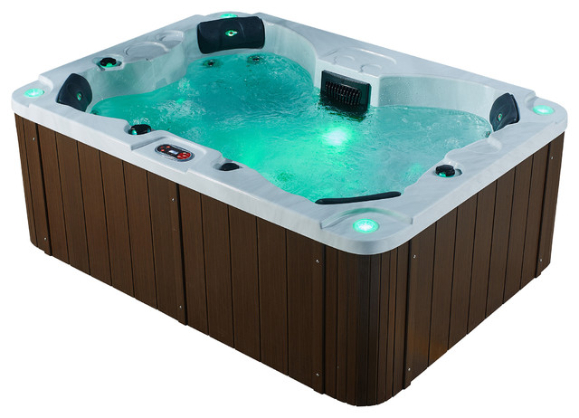 halifax se jet person hot tub with led lighting and waterfall traditional