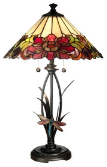 Dale Tiffany TT10793 Floral with Dragonfly Tiffany - Two Light Table Lamp