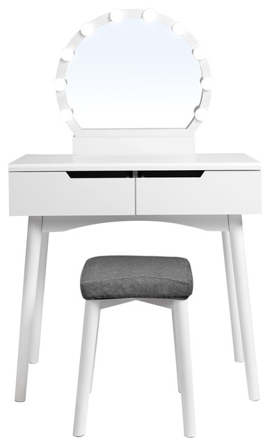 VASAGLE Vanity Set with Mirror, Dressing Table, 2-Drawer, White, With Light  Bul