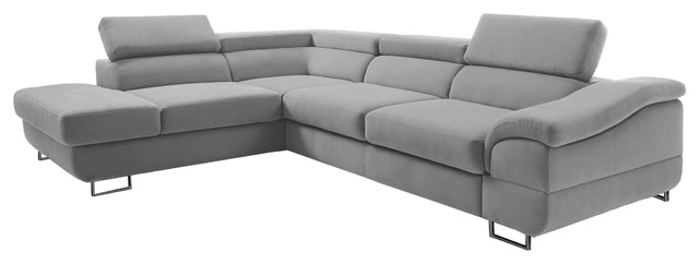 EQsalon LAGOZZO Modern L-Shaped Sectional Corner Sofa w/ Sleeper ...
