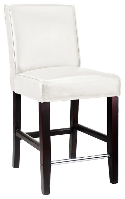 Corliving Antonio Counter Height Barstool In White Bonded Leather.