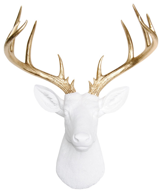 Rialto Wall-Mount Faux Deer Bust With Antlers, White And Gold.