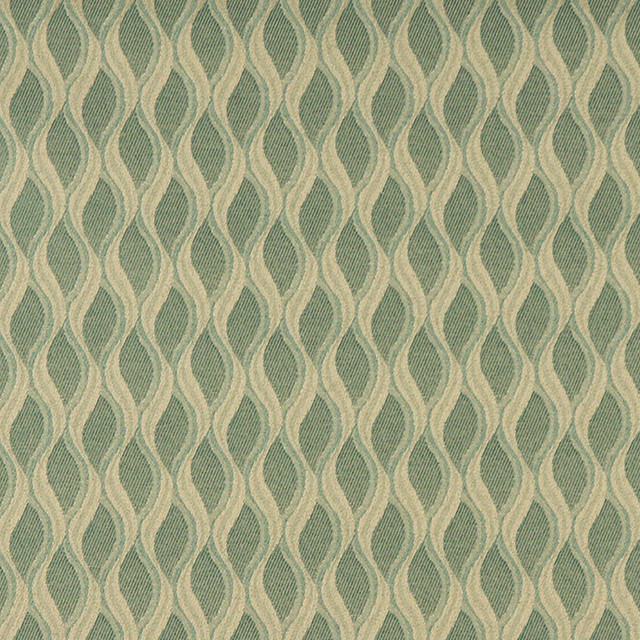 Aqua Green and Gold Wavy Striped Durable Upholstery Fabric By The Yard