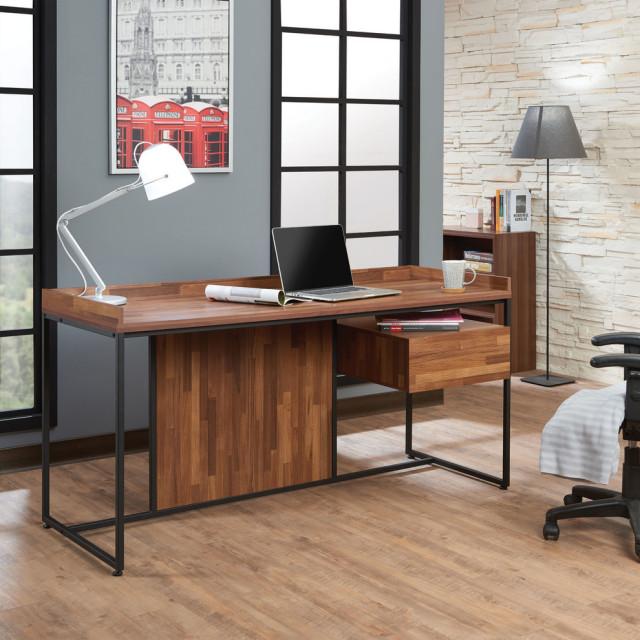 Acme Sara Desk, Walnut and Sandy Black