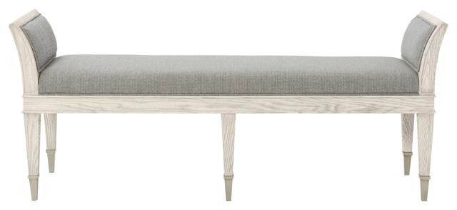 Hayley Hollywood Regency Dove White Upholstered Bench.