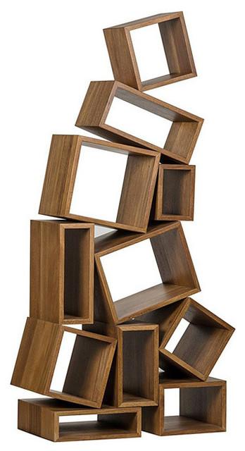 Cubist Bookcase, Dark Walnut.
